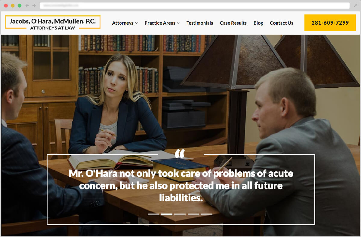 Big 6 Media Jacobs, O'Hara, McMullen, P.C. client screenshot - large
